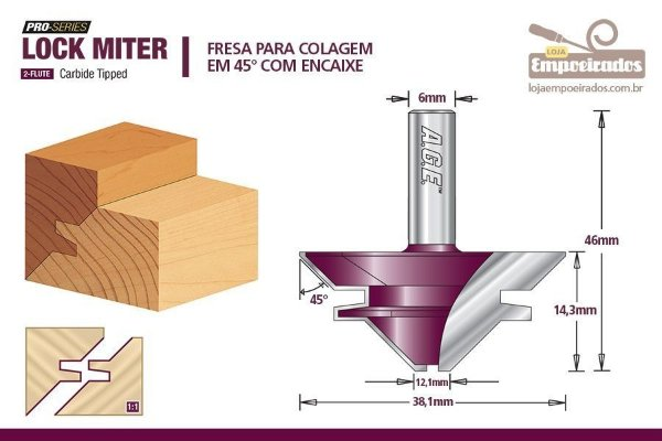 "Fresa AGE™ Pro-Series Amana Tool - ""Lock Miter"" 45° Haste de 6mm [FR340]"