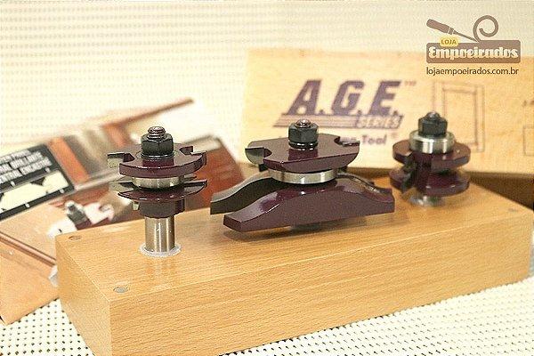 Jogo de Fresas para Porta Almofada com 3 peças Amana Tool - MD502 [Ogee Raised Panel Door Making]