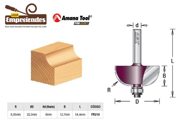 Fresa AGE™ Pro-Series Amana Tool - Côncava com Rolamento Inferior 22,3 x 12,7mm [FR210]