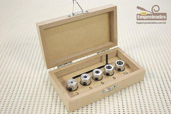 Jogo Limitador de Brocas - Kit com 5 peças: 3, 5, 6,  8 e 10mm - Aluzini Ferramentas