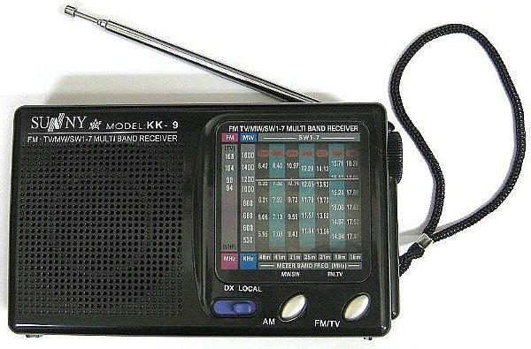 RÁDIO  FM.TV/MW/SW1-7 MULTI BAND RECEIVER - KK-9  - J I N F E N G-   AM /FM -A  PILHA-