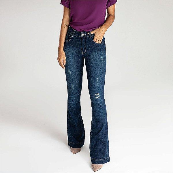 Calça Jeans Microflare Destroyed - Leiden