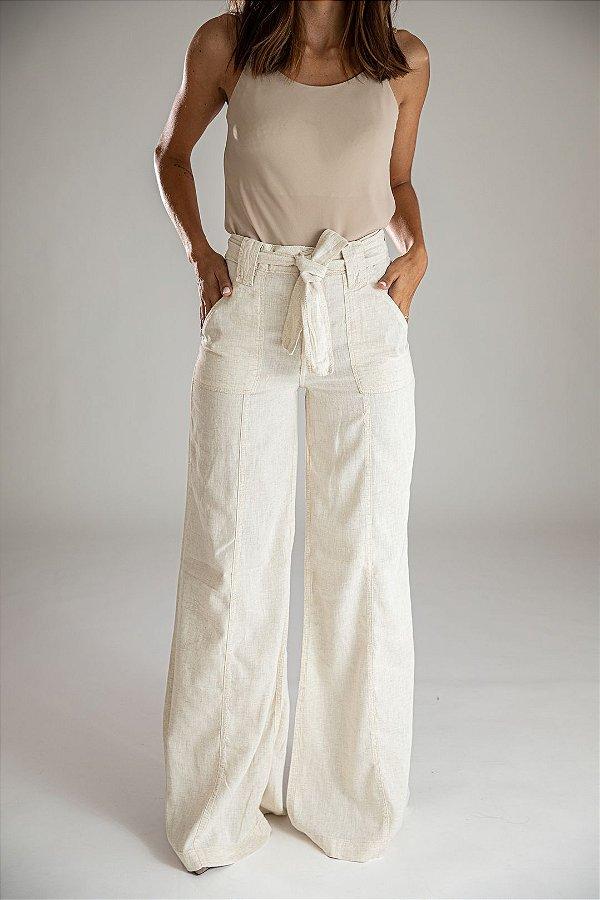 Calça Pantalona Wide Leg Linho - Mikonos