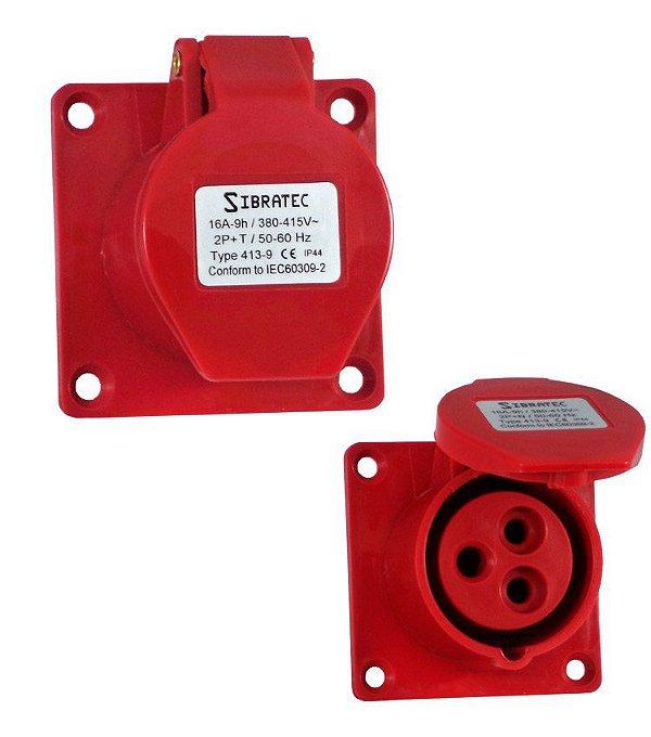 TOMADA DE EMBUTIR - 2P+T 9H 380Vca/16A Vermelho IP44
