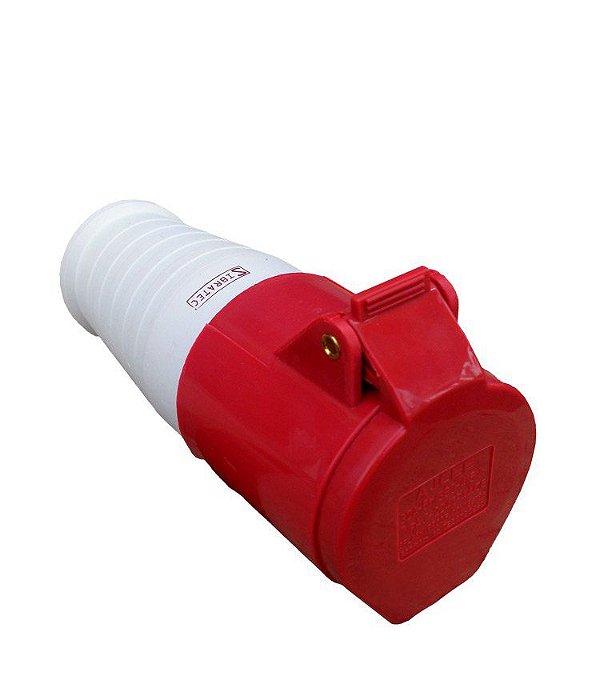 TOMADA ACOPLAMENTO – 3P+N+T 6H 380VAC/16A Vermelho IP44