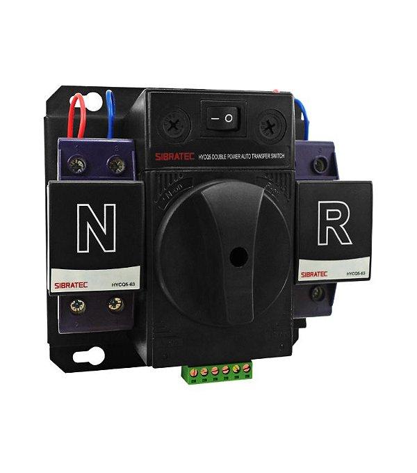 Chave de Transferência Rede/Gerador Automática Bifásica HYCQ5-63G 63A