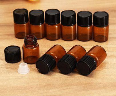 Vidros Ambar 3ml - Óleos Essenciais - mini frascos para amostras - KIT 10 UNIDADES