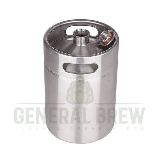 GROWLER BARRIL MINI KEG COM TAMPA - 5 Litros Aço Inox