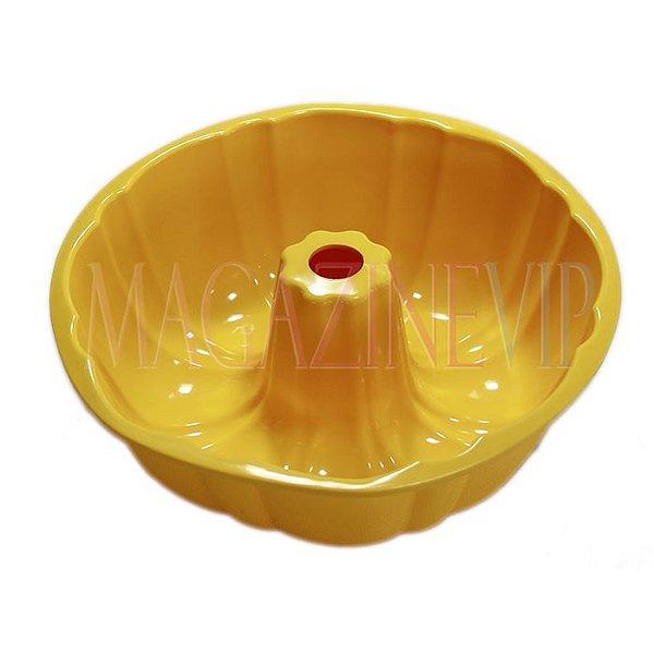 Forma Para Bolo Pudim Quindim Redonda Em Silicone Resistente -50° à +240° Amarela