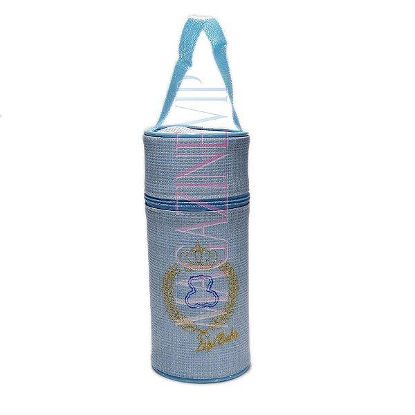 Porta Mamadeira Protetor Térmico Unitário Com Isopor e Bordado Azul