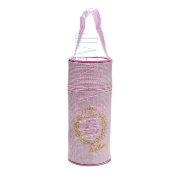 Porta Mamadeira Protetor Térmico Unitário Com Isopor e Bordado Rosa