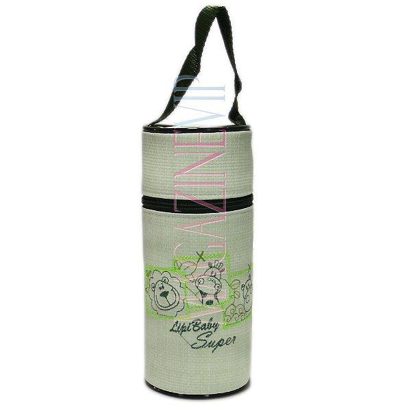 Porta Mamadeira Protetor Térmico Unitário Com Isopor e Bordado Verde