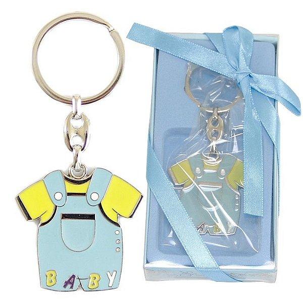 Lembrancinha Chá De Bebê Chaveiro Em Metal Macacão Baby Boy Azul Menino