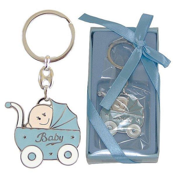 Lembrancinha Chá De Bebê Chaveiro Em Metal Carrinho De Bebê Baby Boy Azul Menino