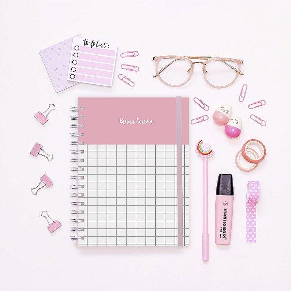 Caderno - Rosa quadriculado