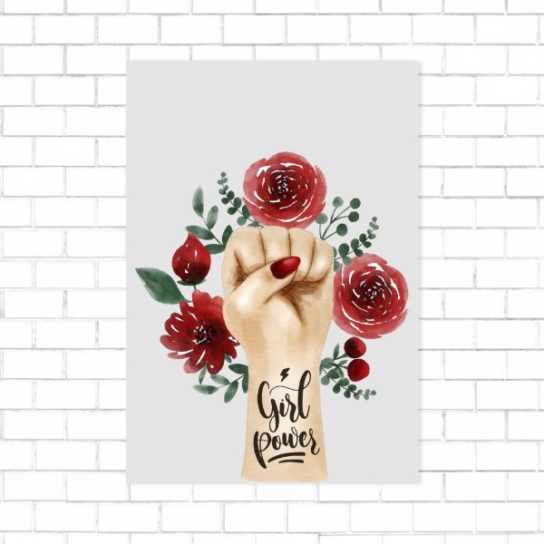 Quadro 19x27 - Girl Power rosas