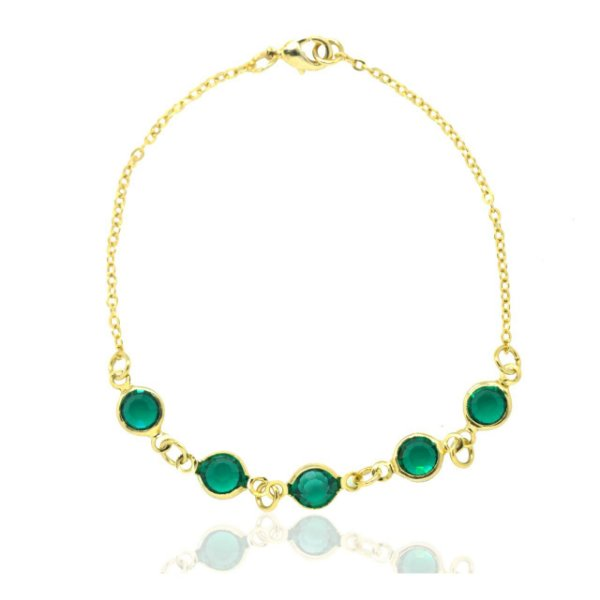 Pulseira com Strass Verde Esmeralda