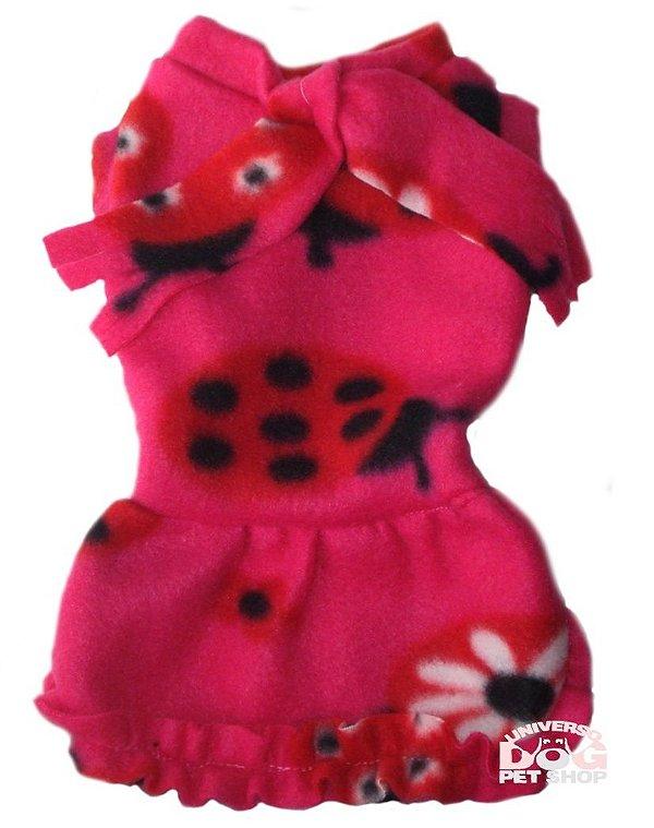 Roupa para Cachorro em Soft - Vestido Pink com Laço