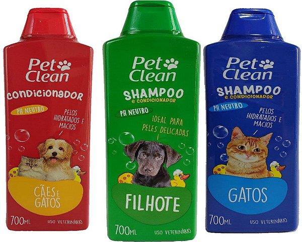 Shampoo e Condicionador Veterinário Pet Clean - Cachorro e Gatos