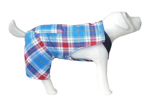 Macacão Pet Jeans Xadrez Azul para Cachorros