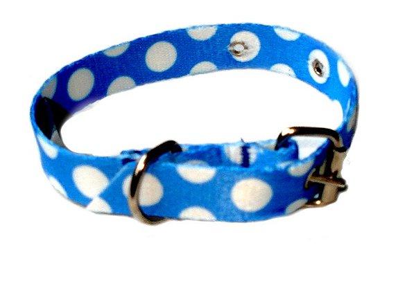 Coleira de Cachorro com Guia Cetim Azul