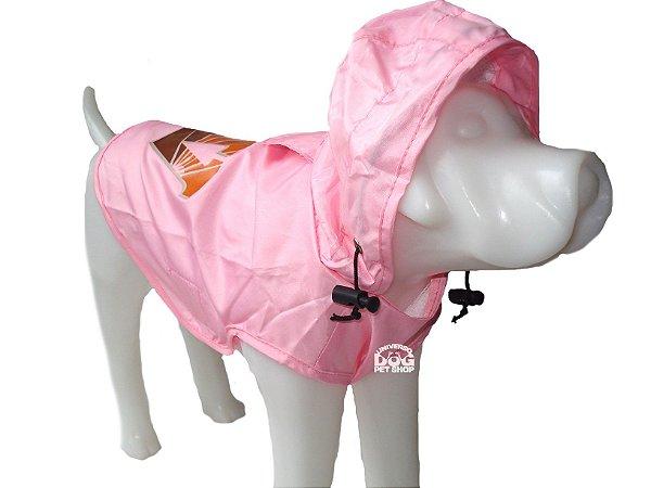 Capa de Chuva para Cachorro Rosa - Porto Pequeno -  Peso Indicado : 2,5 a 4,5 Kg
