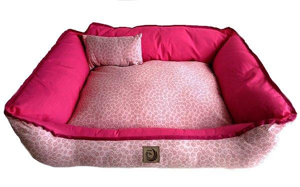 Cama de Cachorro Rubi Luxo Rosa - 100% Lavável  - Porte Grande -  82 cm x 55 cm
