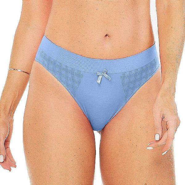 Calcinha Comfort Checked Jacquard Sem Costura Azul