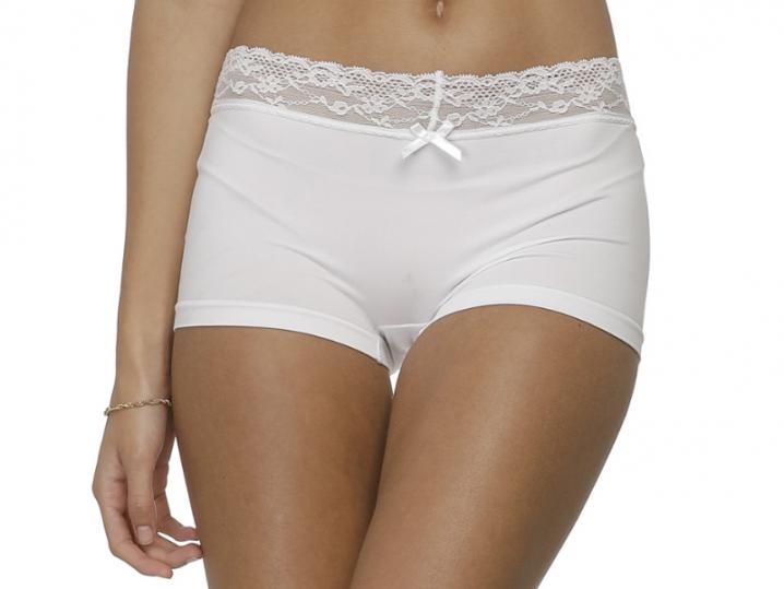 Calcinha Boxer Romantic Lace Branca