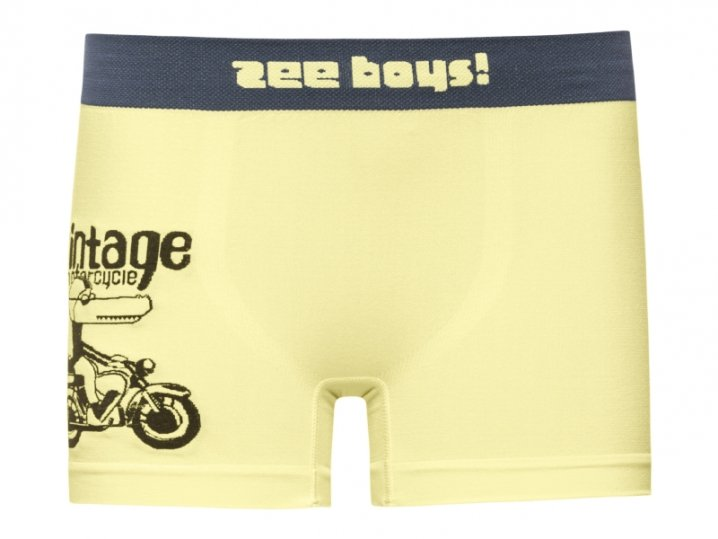 Cueca Boxer Infantil Motorcycle Sem Costura Amarela