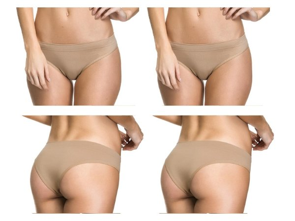 Kit 2 Calcinhas Tanga Sem Costura Bege