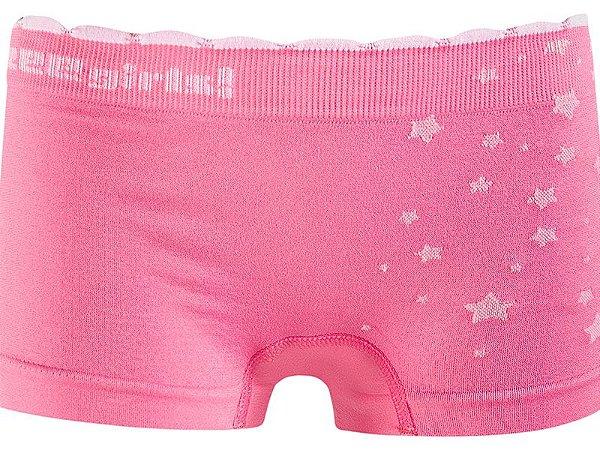 Calcinha Boxer Infantil Star Sem Costura Rosa