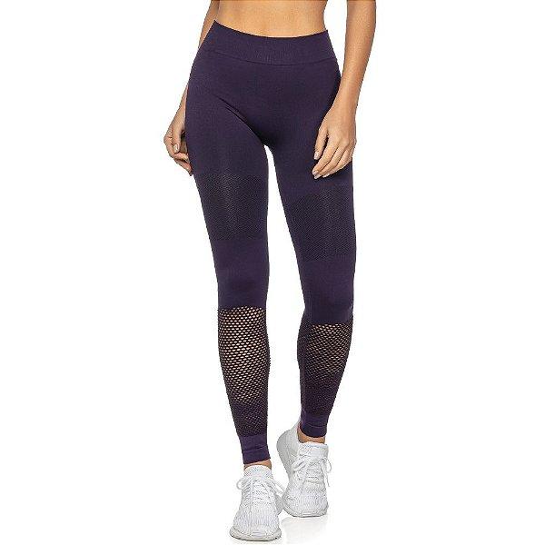 Calça Legging Fitness Sem Costura Black Iris Roxa
