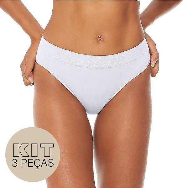 Kit 3 Calcinhas Comfort Sem Costura Branco