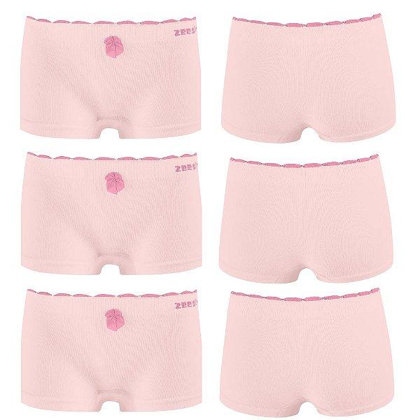 Kit 3 Calcinha Infantil Boxer Algodão Sem Costura Rosa