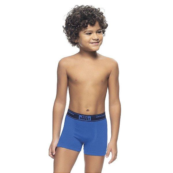 Cueca Boxer Infantil Sem Costura Azul Royal