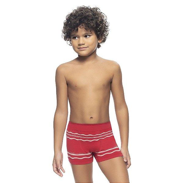 Cueca Boxer Infantil Listrada Sem Costura Vermelho