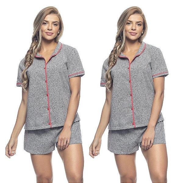 Kit 2 Pijamas Blusa com Botões e Short Heart Print