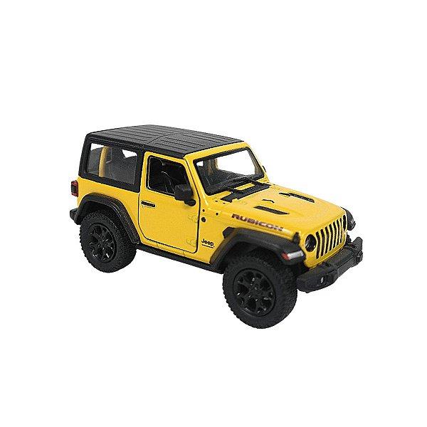 Carrinho de brinquedo Jeep Wrangler 2018 amarela com teto