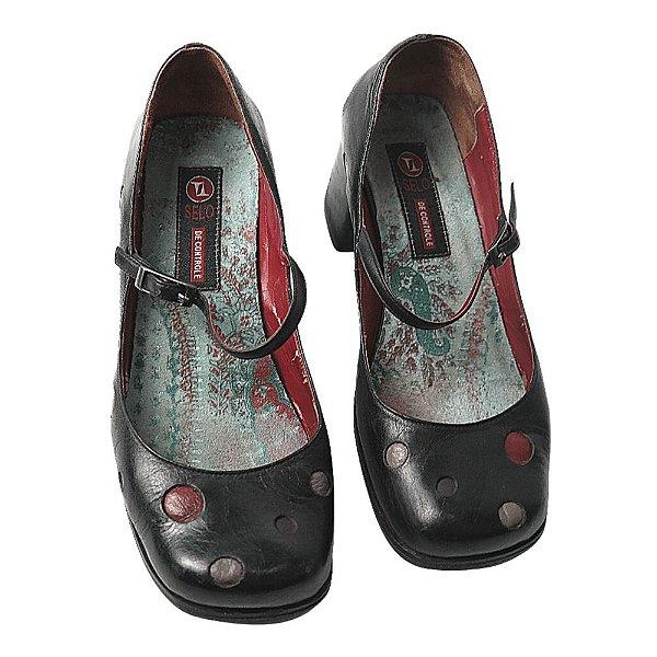 Sapato Selo de controle preto e vermelho 35