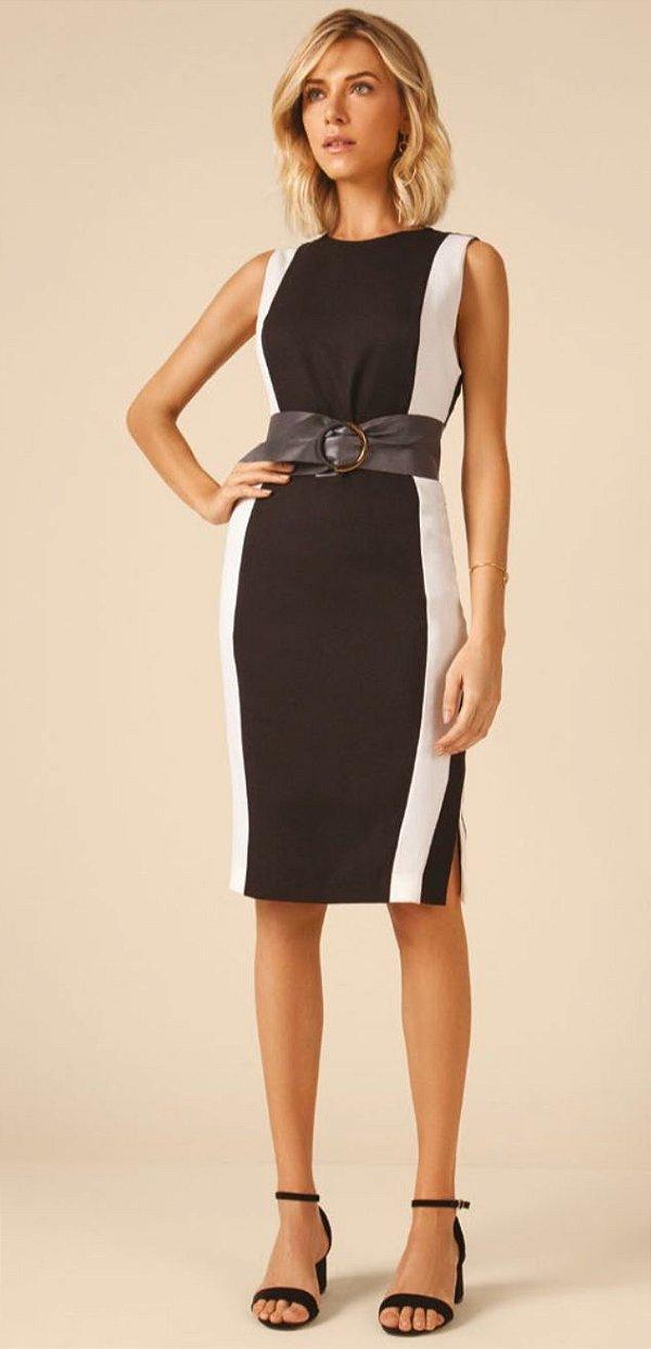 Vestido Alfaiataria preto e branco