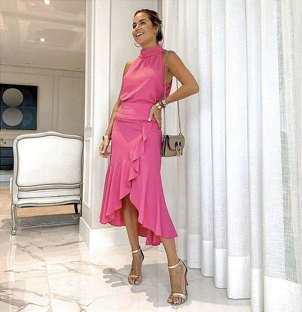 Saia Babados Pink