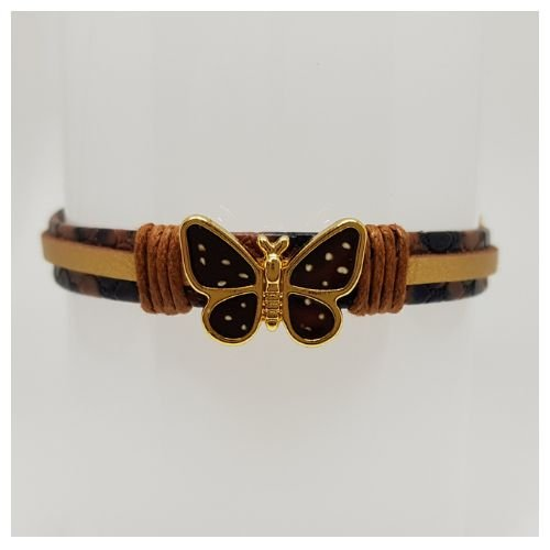 Pulseira infantil de borboleta marrom