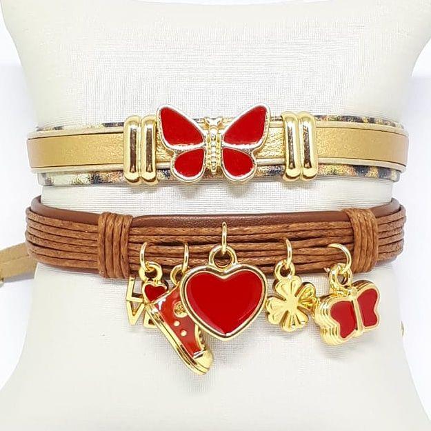 Conjunto de pulseiras infantil vermelha