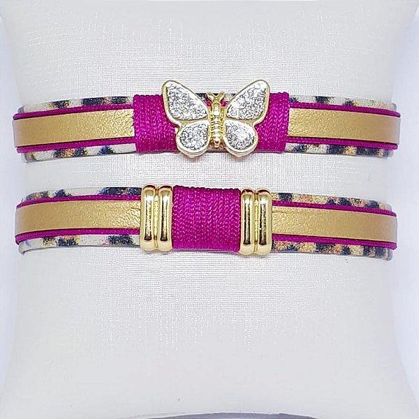 Conjunto de pulseiras infantil pink