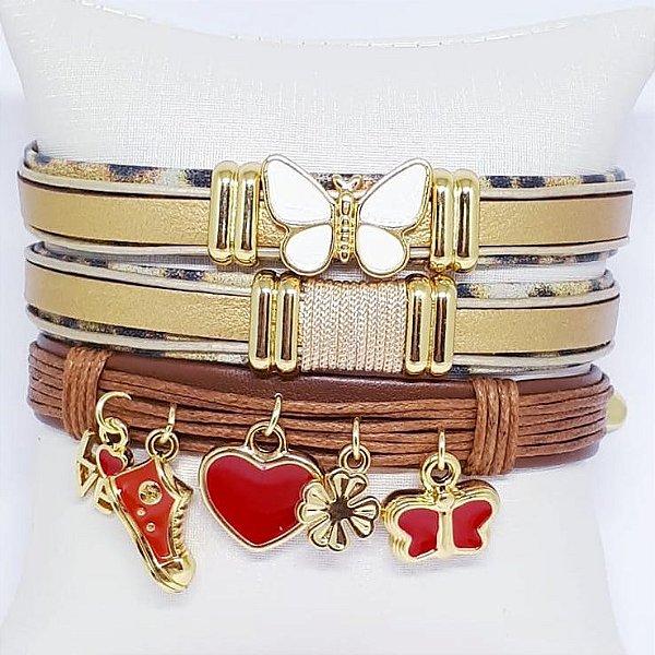 Conjunto de pulseiras infantil dourada