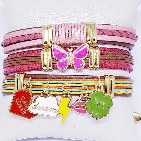 Conjunto de pulseiras infantil rosa