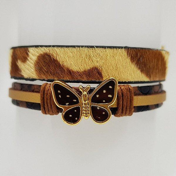 Conjunto de pulseiras infantil animal print e borboleta