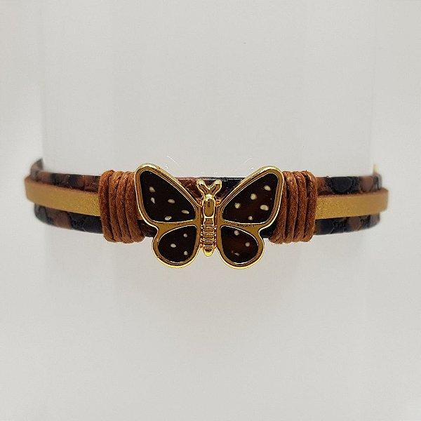Pulseira infantil de borboleta marrom com bolinhas