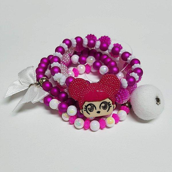 Conjunto de pulseiras de bolinhas boneca pink